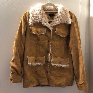 Corduroy fur tan jacket - boutique